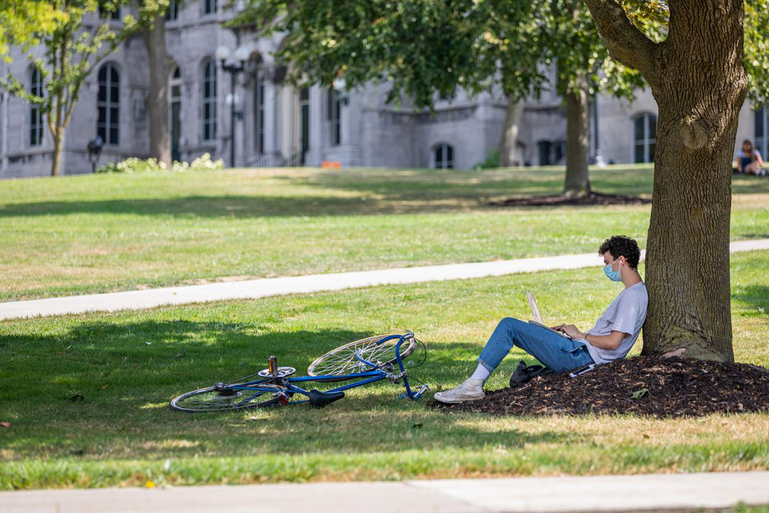 Student leaning against a tree using his laptop.