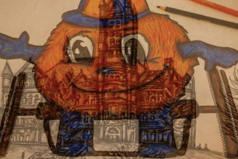 Artwork of Otto in a wheelchair