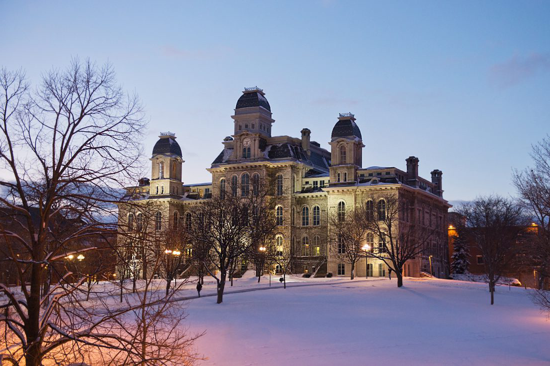 Hall of Languages in the snow at dusk